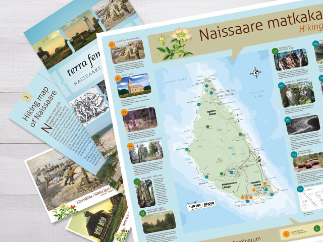 Information boards, postcards, brochures for island Naissaare