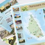 Infoständit, postikortit ja brosyyri Naissaaren retkeilyalueelle